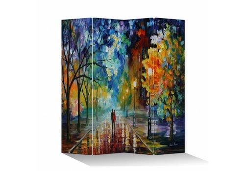Fine Asianliving Biombo Separador de Lienzo 4 Paneles Pareja en la Calle Colorida Anch.160 x Alt.180 cm