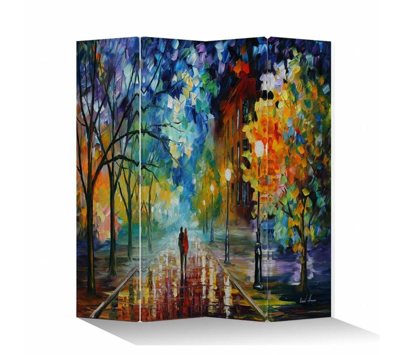 Room Divider Privacy Screen 4 Panel Couple on Coloured Street W160xH180cm