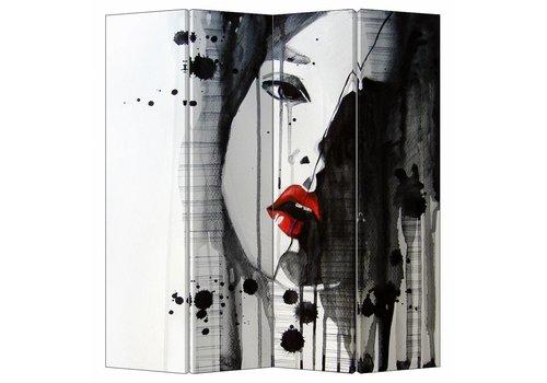 Fine Asianliving Fine Asianliving Kamerscherm Scheidingswand 4 Panelen Art Lipstick L160xH180cm