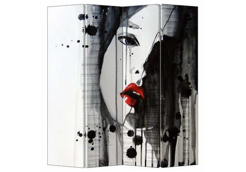 Fine Asianliving Fine Asianliving Room Divider Privacy Screen 4 Panel Art Lipstick L160xH180cm