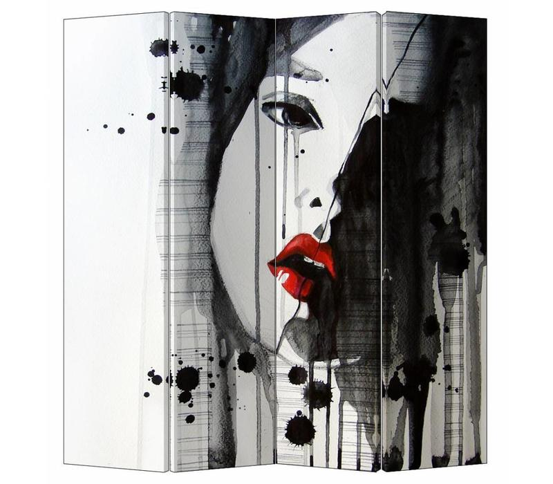 Fine Asianliving Kamerscherm Scheidingswand 4 Panelen Art Lipstick L160xH180cm
