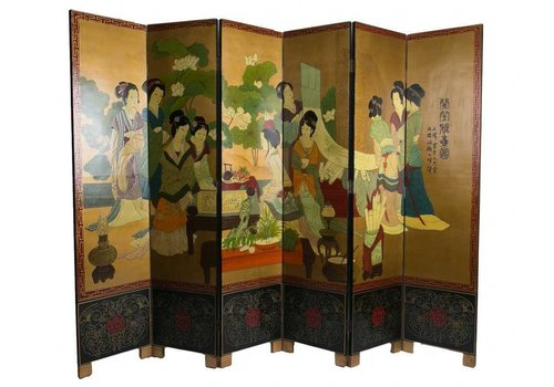 Fine Asianliving Fine Asianliving Chinese Room Divider 6 Panel White Handpainted Chinese Ladies