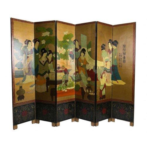 Chinese Room Divider 6 Panel White Handpainted Chinese Ladies