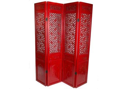 Fine Asianliving Paravent Chinois 4 Panneaux Rouge Sculpté à la Main