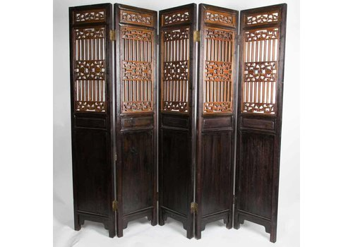 Fine Asianliving Antieke Chinese Kamerscherm Handgesneden 5 Panelen 19e Eeuw