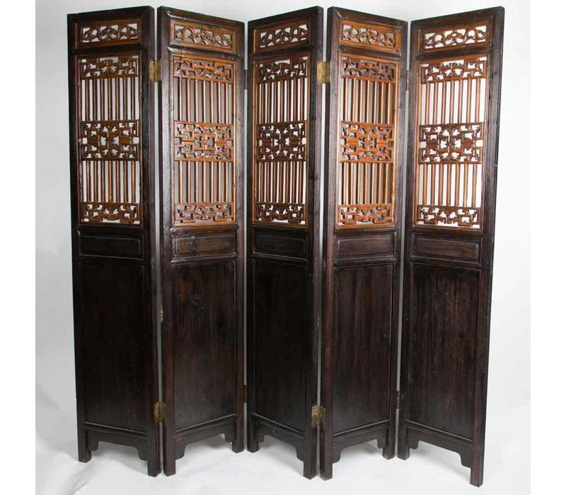 Antieke Chinese Kamerscherm Handgesneden 5 Panelen 19e Eeuw