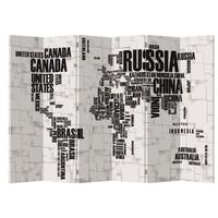 Kamerscherm 6 Panelen Wereldkaart