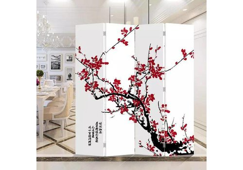 Fine Asianliving Chinesische Paravent Raumteiler B160xH180cm 4-teilig Rote Blüten