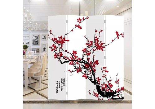 Fine Asianliving Chinesischer Raumteiler Trennwand B160xH180cm 4-teilig Rote Blüten