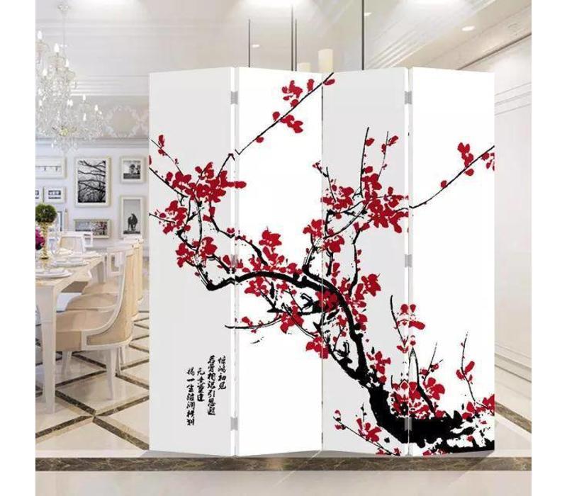 Chinees Kamerscherm Oosters Scheidingswand 4 Panelen Rode Bloesem B160xH180cm