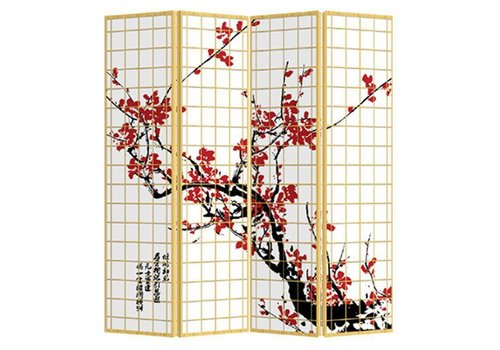 Fine Asianliving Paravent Raumteiler Trennwand 4-teilig Japanische Kirschblüten B160xH180cm