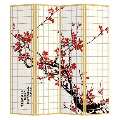 Fine Asianliving Oosters Kamerscherm 4 Panelen Japanse Sakura (160x180cm)