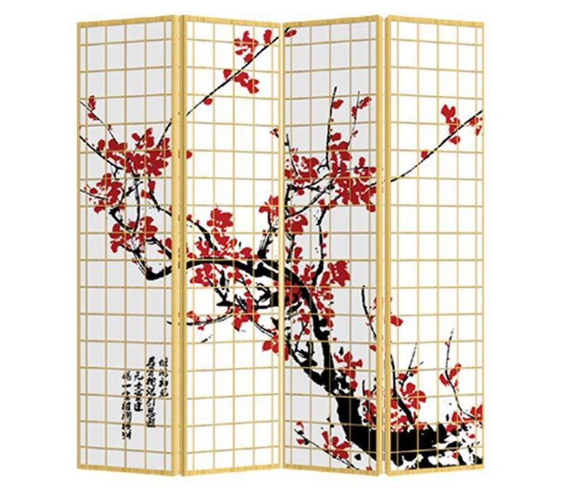 Fine Asianliving Japanese Oriental Room Divider Folding Privacy Screen 4 Panel Japanese Sakura L160xH180cm