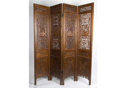 Fine Asianliving Antique Chinese Room Divider 19th Century Hand-carved 4 Panel Brown