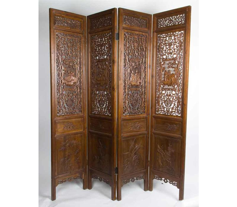 Antique Chinese Room Divider 19th Century Hand-carved 4 Panel Brown