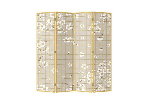 Fine Asianliving Japans Kamerscherm Oosters Scheidingswand 4 Panelen Japanse Bloesems L160xH180cm