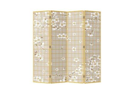 Fine Asianliving Paravent Raumteiler Trennwand 4-teilig Japanische Blüten B160xH180cm