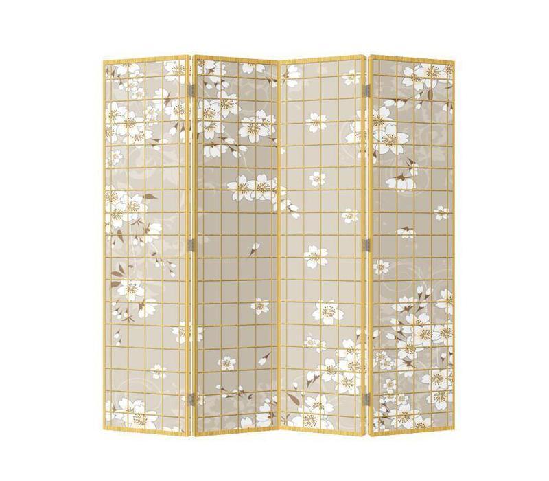 Biombo Separador de Lienzo Japonés A160xA180cm 4 Paneles Flores Japonesas