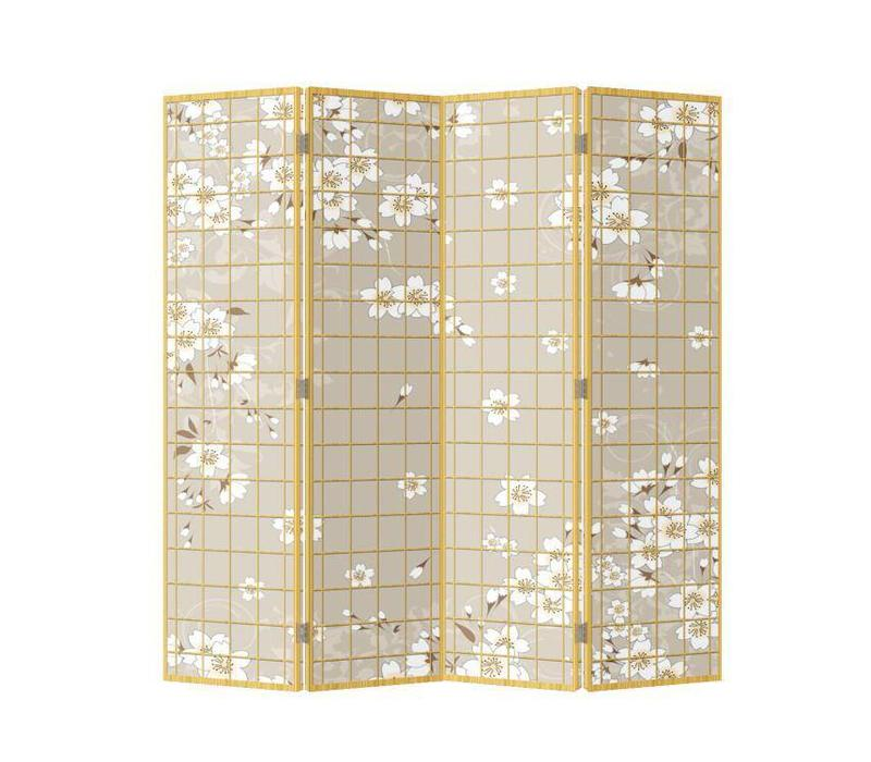 Japanese Oriental Room Divider Folding Privacy Screen 4 Panels W160xH180cm Japanese Blossoms