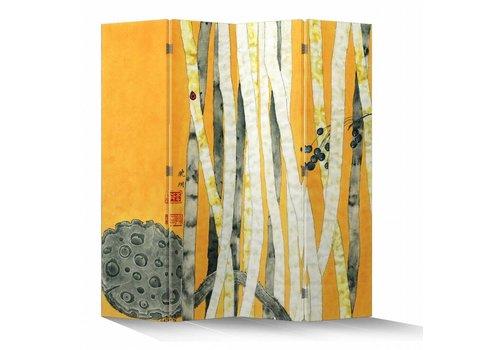 Fine Asianliving Paravent en Toile L160xH180cm 4 Panneaux Foret de Bambou