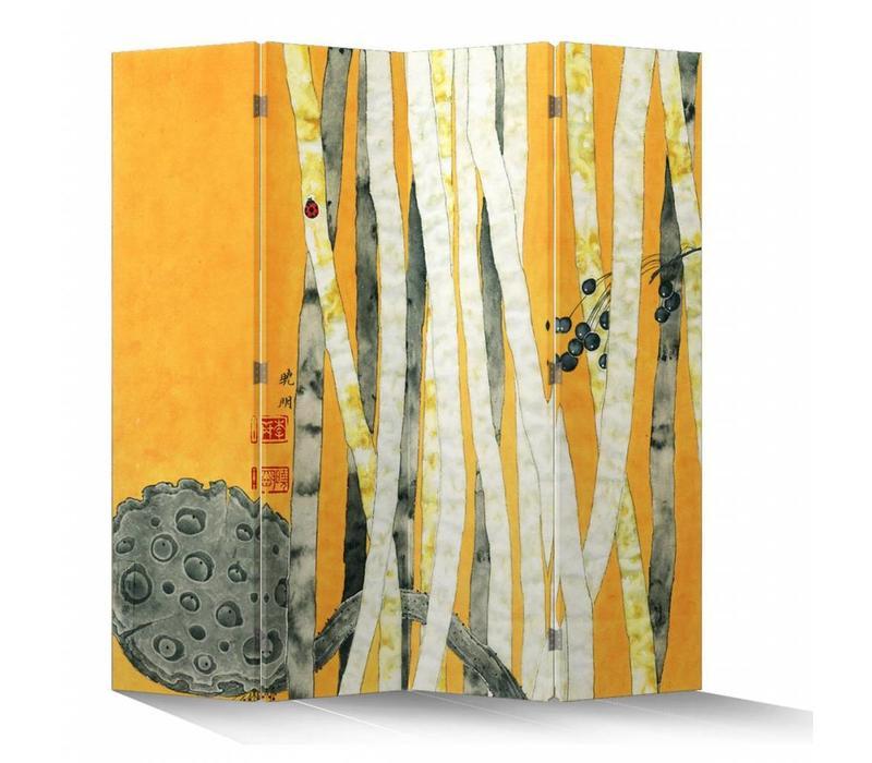 Paravento Divisori in Tela Cinese L160xA180cm 4 Pannelli Foresta di Bambù