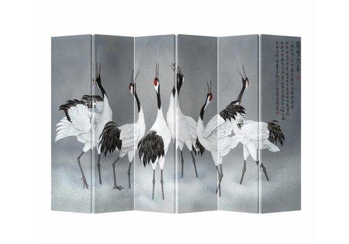 Fine Asianliving Fine Asianliving Chinees Kamerscherm Oosters Scheidingswand 6 panelen Kraanvogels L240xH180cm