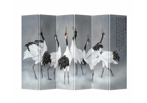 Fine Asianliving Fine Asianliving Kamerscherm Scheidingswand 6 Panelen Kraanvogels