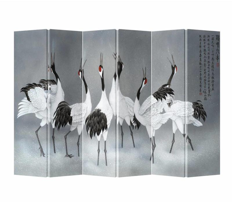 Fine Asianliving Chinese Oriental Room Divider Folding Privacy Screen 6 Panel Cranes L240xH180cm