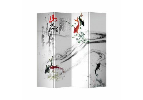 Fine Asianliving Room Divider Privacy Screen 4 Panel Koi Fishes W160xH180cm