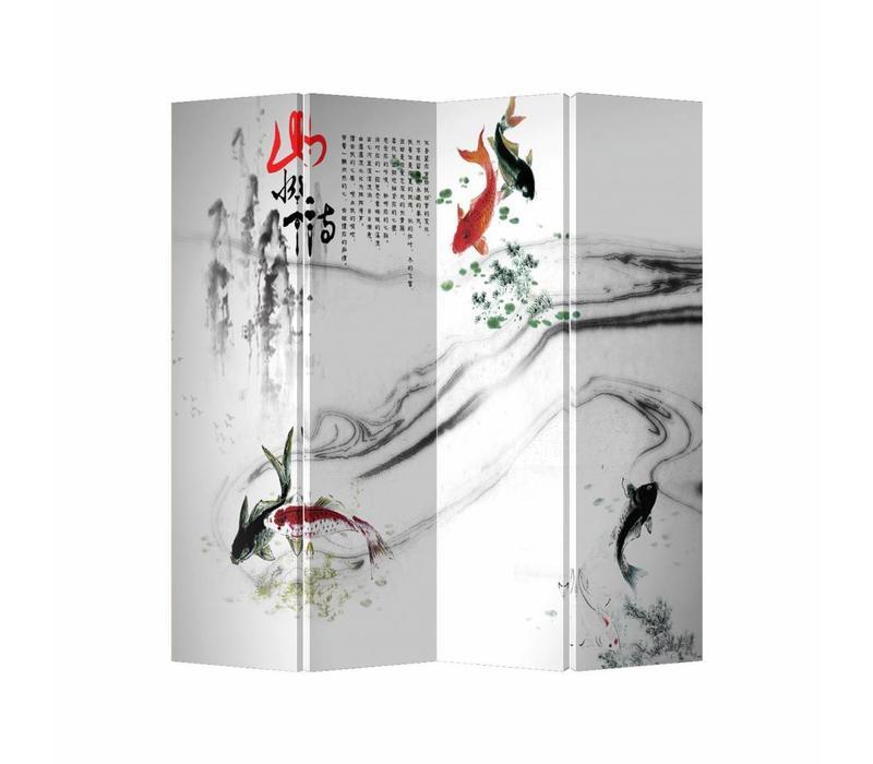 Fine Asianliving Chinees Kamerscherm Oosters Scheidingswand 4 Panelen Koi Vissen L160xH180cm