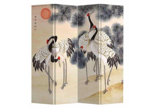 Fine Asianliving Fine Asianliving Chinees Kamerscherm Oosters Scheidingswand 4 Panelen Kraanvogels Rijzende Zon L160xH180cm
