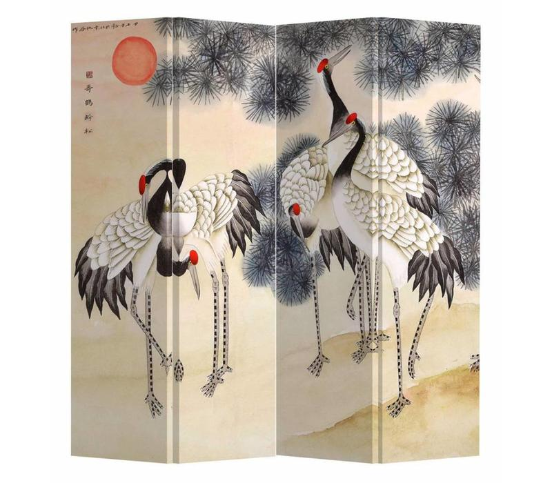 Chinese Oriental Room Divider Folding Privacy Screen 4 Panels W160xH180cm Cranes Rising Sun