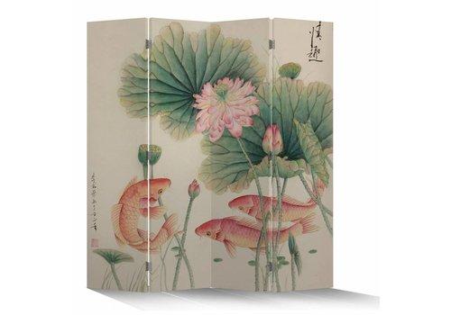 Fine Asianliving Chinesische Paravent Raumteiler B160xH180cm 4-teilig Lotus und Karpfen Weiß