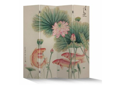 Fine Asianliving Fine Asianliving Chinese Oriental Room Divider Folding Privacy Screen 4 Panel Lotus White Carps L160xH180cm