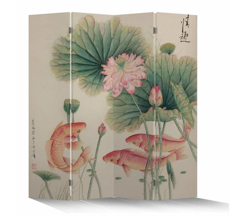 Fine Asianliving Chinees Kamerscherm Oosters Scheidingswand 4 Panelen Lotus met Karpers L160xH180cm