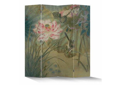 Fine Asianliving Fine Asianliving Kamerscherm Scheidingswand 4 Panelen Lotusbloem met Vogel