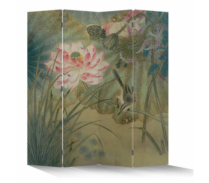 Fine Asianliving Kamerscherm Scheidingswand 4 Panelen Lotusbloem met Vogel