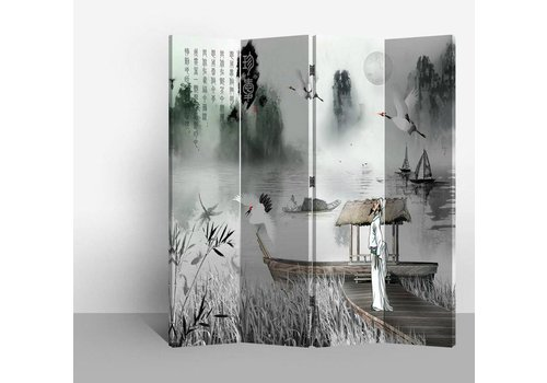 Fine Asianliving Fine Asianliving Chinees Kamerscherm Oosters Scheidingswand 4 Panelen Dichter L160xH180cm