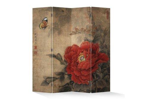 Fine Asianliving Chinees Kamerscherm Oosters Scheidingswand B160xH180cm 4 Panelen Vintage Pioen