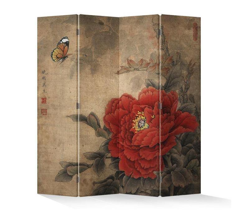 Chinees Kamerscherm Oosters Scheidingswand B160xH180cm 4 Panelen Vintage Pioen