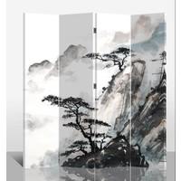 Chinesischer Raumteiler Trennwand B160xH180cm 4-teilig Berglandschaft