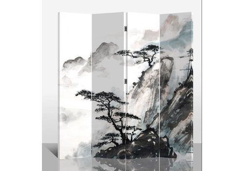 Fine Asianliving Chinesischer Raumteiler Trennwand B160xH180cm 4-teilig Berglandschaft