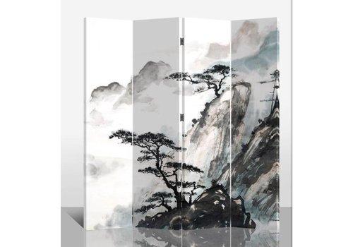 Fine Asianliving Paravent en Toile L160xH180cm 4 Panneaux Montagne Chinoise