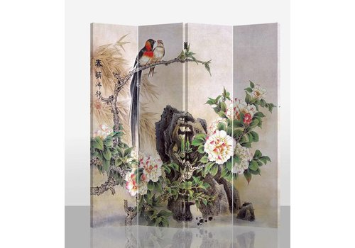 Fine Asianliving Orientalische Paravent Raumteiler B160xH180cm 4-teilig Vögel und Pfingstrosen