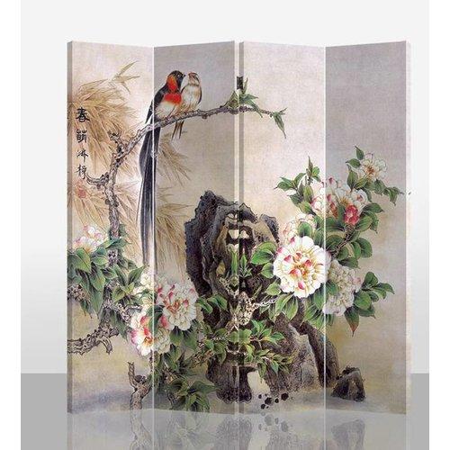 Fine Asianliving Chinees Kamerscherm 4 Panelen Vogels en Mudan Pioenen (160x180cm)