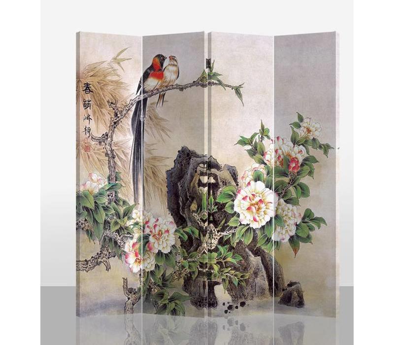 Paravent sur Toile 4 panneaux Oiseaux et Pivoines L160xH180cm