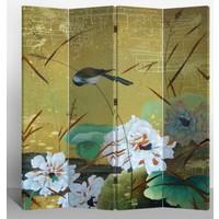 Chinees Kamerscherm Oosters Scheidingswand B160xH180cm 4 Panelen Zwaluwen en Bloemen