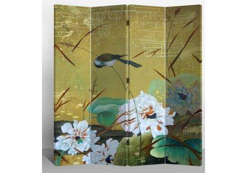 Fine Asianliving Fine Asianliving Chinees Kamerscherm Oosters Scheidingswand 4 Panelen Zwaluwen en Bloemen L160xH180cm