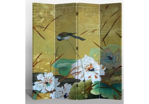 Fine Asianliving Fine Asianliving Room Divider Privacy Screen 4 Panel Swallows and Flowers L160xH180cm