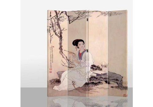 Fine Asianliving PREORDER Chinees Kamerscherm 4 Panelen Chinese Vrouw